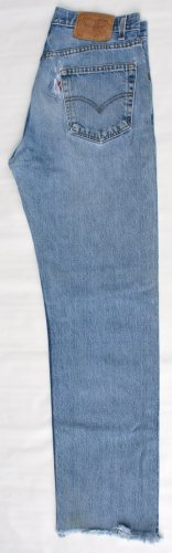 Thrashed Mens Levi 505 Red Tab Zip Fly Regular Fit  Jeans 32 x 33