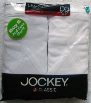 6 Pair Classic Jockey Y-Front Full Rise Briefs L 36 White