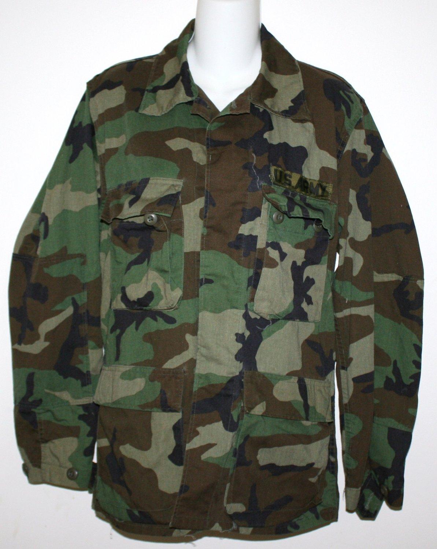 Vintage U.S. ARMY Military Field Shirt - Woodland Camo - Small Regular