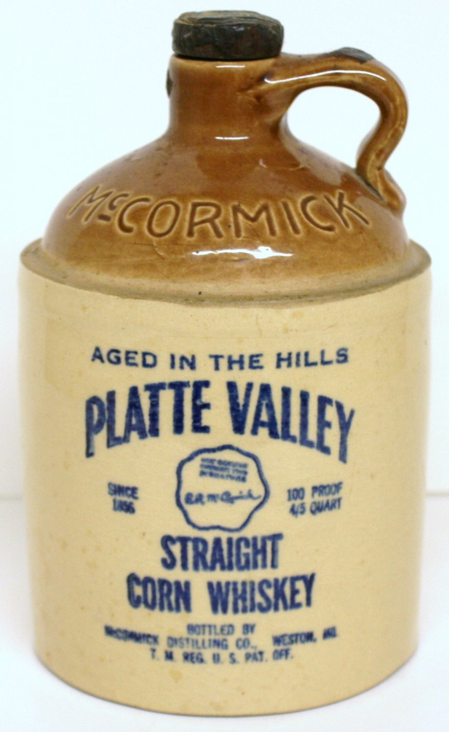 MCCORMICK PLATTE VALLEY WHISKEY JUG with CORK