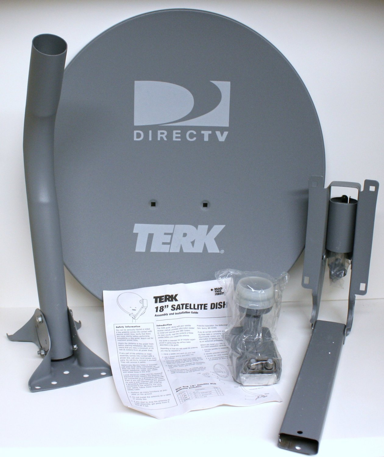 "TERK TRK-S2 18"" DIRECTV Satellite Dish Antenna with Dual Output LNB ""New In Box"""