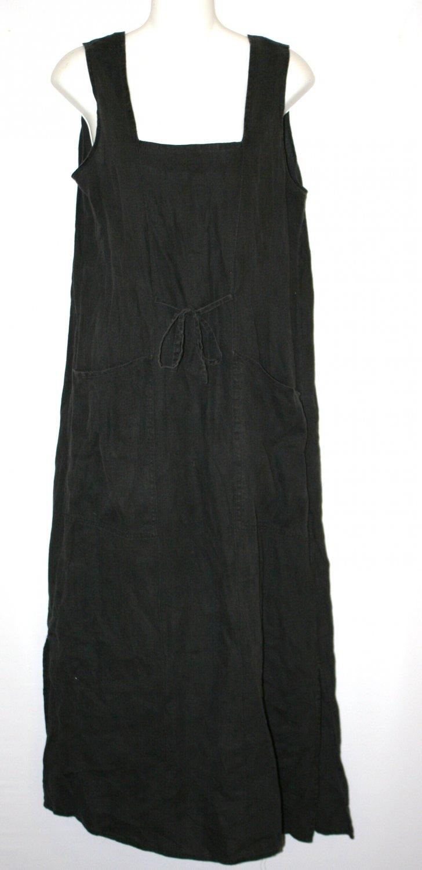 Vintage FLAX by Jeanne Englehart Jumper dress black linen S