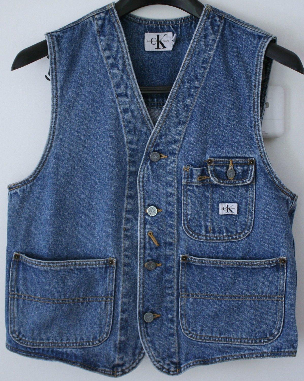 Womens Calvin Klein CK Collarless Denim Jean Vest Large
