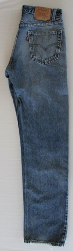 Distressed Hige Mens Levi 505 Red Tab Zip Fly Regular Fit  Jeans 33 x 34