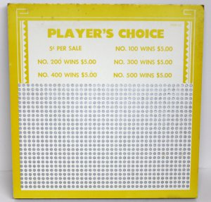 """Vintage """"8 ea"""" 5 cent 1000 hole """" PLAYERS CHOICE """" Punchboards NEW USA"""