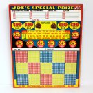 "Vintage 25 cent 1500 hole "" JOE'S SPECIAL PRIZE "" Punchboard NEW OLD STOCK USA"