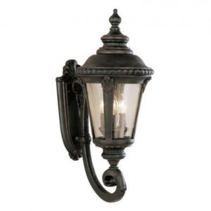 Trans Globe Black Outdoor Wall Lantern with Clear Seeded Glass 5041BK