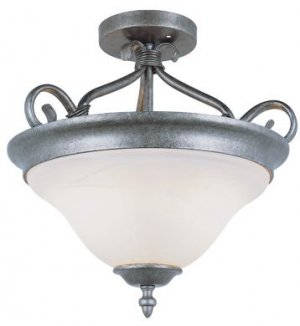 Trans Globe Pewter Finish Ceiling Light with Marbleized Glass 6390PW