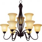 Trans Globe Oil Rubbed Bronze Chandelier with Amber Glass 8169ROB