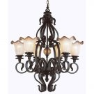 Rustic Bronze 6 Light Chandelier with Blown Frit Glass 6656RBZ