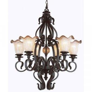 Rustic Bronze 6 Light Chandelier with Blown Frit Glass 6656RBZ
