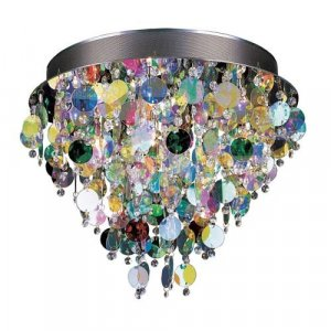 Trans Globe Chrome Flush Mount with Crystal and Multi Color Glass MDN-531