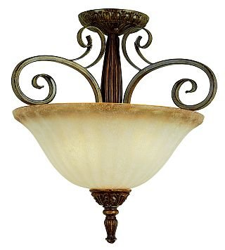 Trans Globe Coffee Finish 3 Light Semi Flush with Scalloped Glass 9473CF