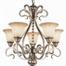 Burnished Gold Chandelier with Amber Iridescent Glass 8575BRG
