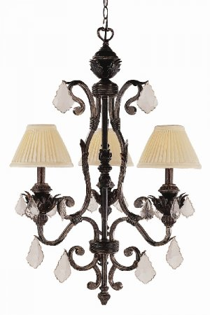 Trans Globe Iron Finish 3 Light Chandelier with Crystal Accents 8273EI