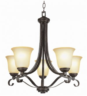 Trans Globe Antique Brown and Rust 5 Light Chandelier 3685ABR