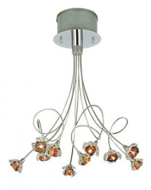 Trans Globe Modern 10 Lt Chrome Pendant with Amber Crystal MDN-326