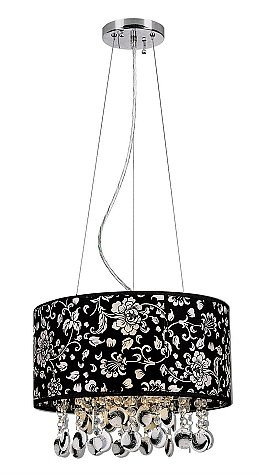 Trans Globe Crystal Pendant with Black Floral Fabric Shade PND-609