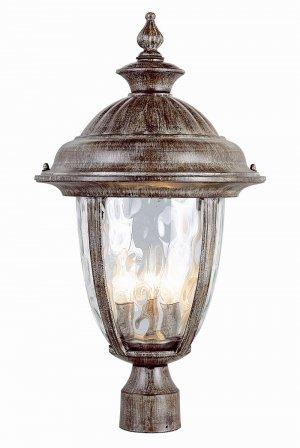 Trans Globe Rust Outdoor Post Top Lantern with Water Glass 5905BRT