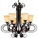 Trans Globe Dark Bronze Chandelier with Crushed Stone Glass 9916DBZ
