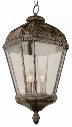 Trans Globe Rust Outdoor Hanging Lantern with Clear Beveled Glass 5155BRT