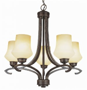 Trans Globe Antique Bronze Chandelier with Champagne Frost Glass 6185ABZ