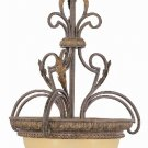 Burnished Gold Pendant Light with Amber Iridescent Glass 8403BRG