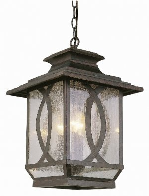 Trans Globe Rust Outdoor Hanging Lantern with Clear Seeded Glass 5196BRT