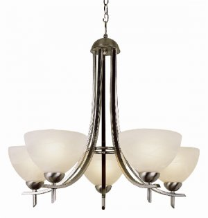 Trans Globe Contemporary 5 Lt Chandelier with Marbleized Glass 8175BN