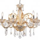 Trans Globe Champagne and Crystal 6 Light Chandelier HG-6