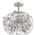 Trans Globe Six Light Crystal Semi Flush Ceiling Light MDN-1010