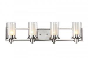 Trans Globe Transitional Brushed Nickel 4 Light Bathroom Vanity 20044
