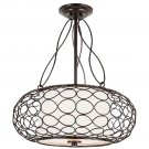 """Trans Globe Bird Cage 18"""" Brown Pendant with Frosted Glass PND-820"""
