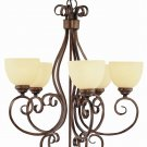 Trans Globe Oil Rubbed Bronze Chandelier with Champagne Swirl Glass 7217ROB