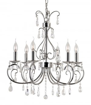 Trans Globe Polished Chrome and Crystal Chandelier 70366PC