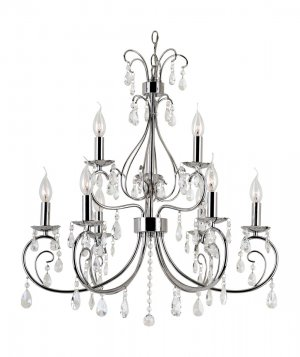 Trans Globe Polished Chrome and Crystal Chandelier 70369PC