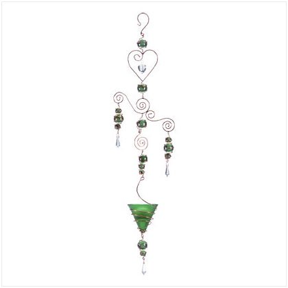 Hanging Candleholder with Green Accents