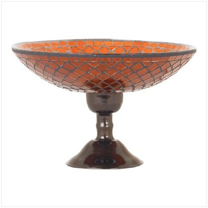 Amber Mosaic Glass Compote - D