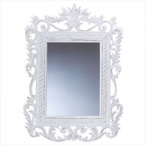 Carved White Mirror - D