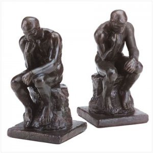 """Bronze """"Thinkers"""" Bookends - D"""