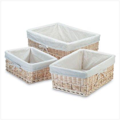 Lined Willow Basket Set - D