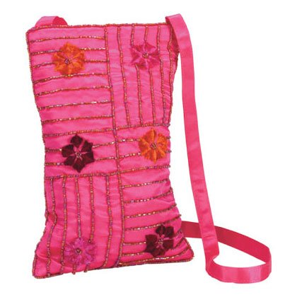 Embroidered Ruby Red Purse