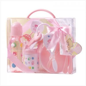 Pink Baby Gift Set in Clear Case - D
