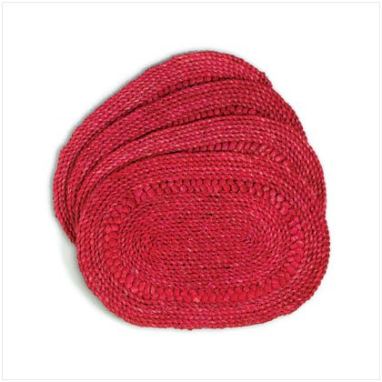 Straw Red Oval Placemats - D