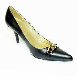 SEXY BLACK PONTY TOE CHAIN LINK DETAIL DRESS HEELS PUMPS BY QUPID SIZE 8.5 SASSY DIVA SHOES