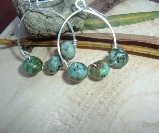 Earth earrings sterling silver and african turquoises