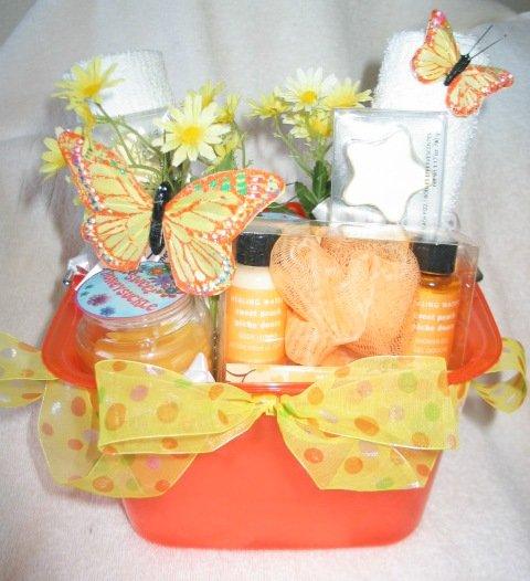 Bath & Candle - Orange Butterfly Spring Gift Basket