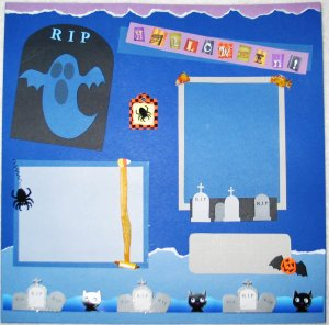 Halloween - Ghosts & Graves 2-Page 12x12 Premade Scrapbook Layout