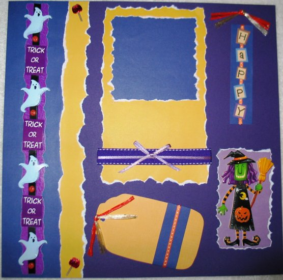 Halloween - TRICK OR TREAT 2-Page 12x12 Premade Scrapbook Layout