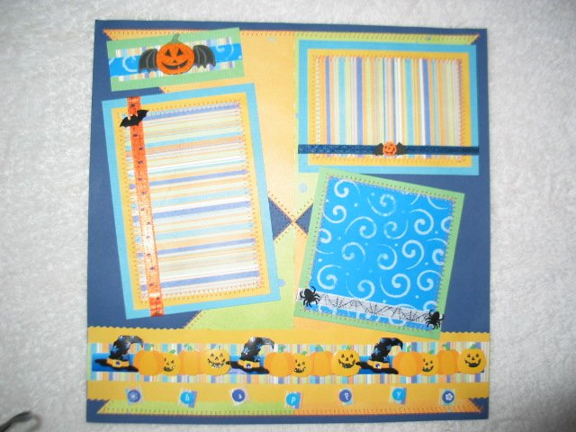 Halloween - BRIGHT SPIDERS 2-Page 12x12 Premade Scrapbook Layout